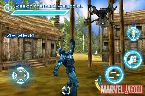 Iron Man battles foes in the Iron Man 2 iPhone game