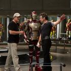 Director Shane Black and star Robert Downey, Jr. on set of Marvel's Iron Man 3
