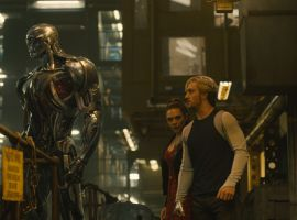 Ultron (James Spader) looms over the Maximoff twins in Marvel's 'Avengers: Age of Ultron'