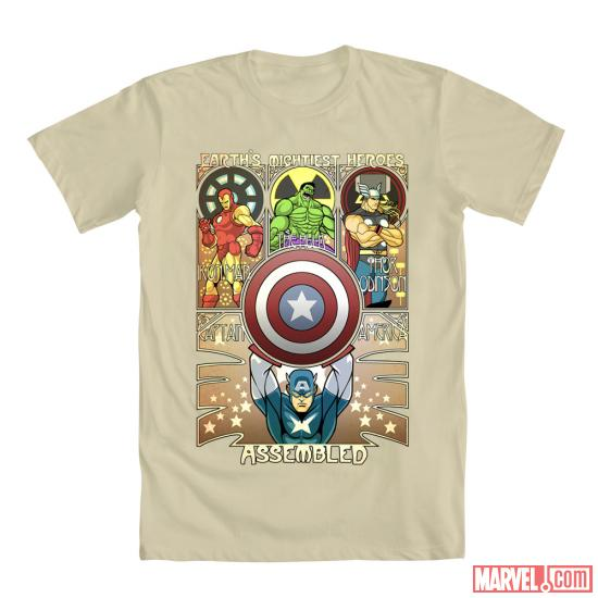 """Avengers Nouveau"" by Timothy Lim shirt design for Mighty Fine"