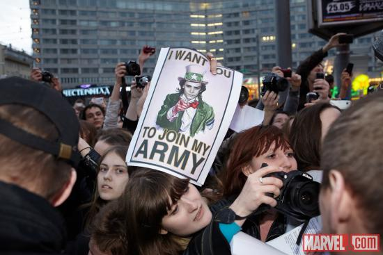 Fans at the Moscow premiere of Marvel's The Avengers