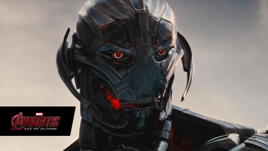 Ultron's evil gaze in Marvel's Avengers: Age of Ultron, in theaters May 1, 2015