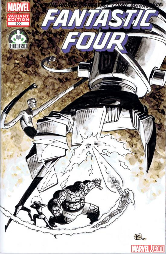 Fantastic Four #600 Hero Initiative variant cover by Andy Kuhn 