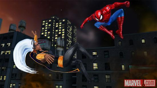 Screenshot of Storm and Spider-Man from Marvel Avengers: Battle for Earth