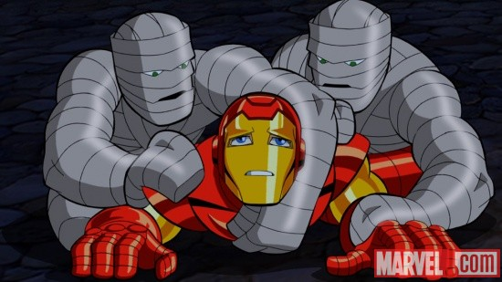 Iron Man tackles some mummies in The Super Hero Squad Show