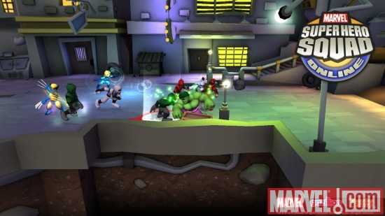 Screenshot of Invisible Woman, Wolverine and Hulk from Super Hero Squad Online