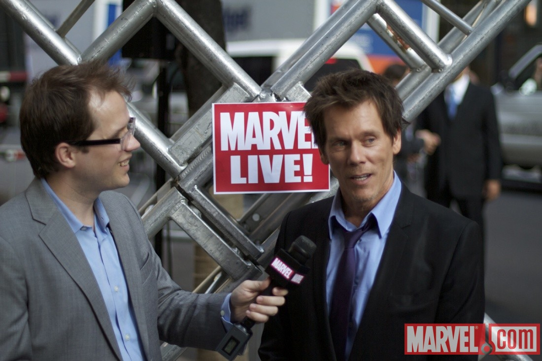 Kevin Bacon (Sebastian Shaw) and Marvel Comics Senior Editor Nick Lowe at the 'X-Men: First Class' red carpet event in NYC