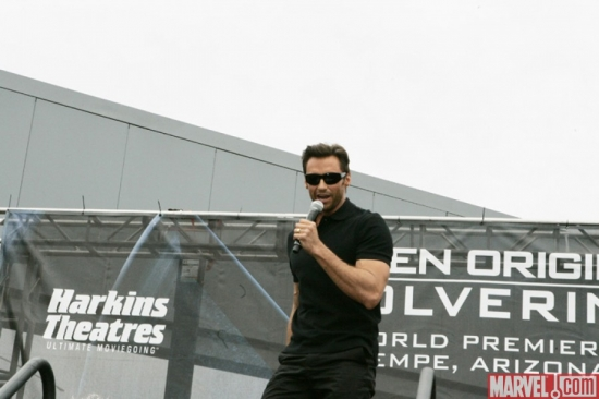 Hugh Jackman at the ''X-Men Origins: Wolverine'' movie premiere in Tempe, Ariz.