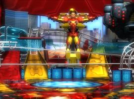 Tony Stark suits up as Iron Man in Marvel Pinball