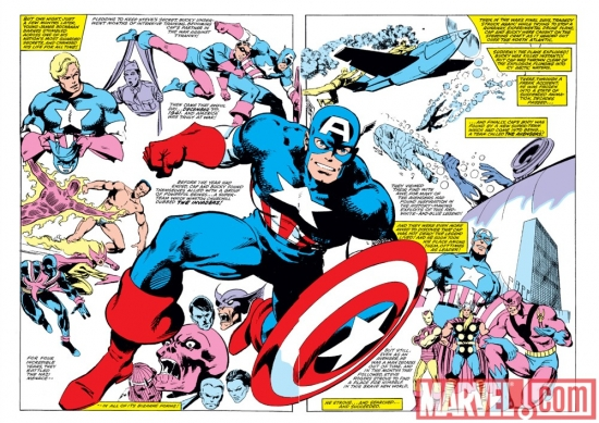 Image Featuring Invaders, Avengers, Hank Pym, Captain America, Iron Man, Red Skull, Thor, Wasp, Sub-Mariner, Spitfire, Human Torch (Jim Hammond)