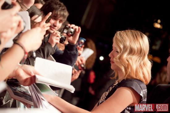 Scarlett Johansson (Black Widow) at the Marvel's The Avengers red carpet premiere in Rome