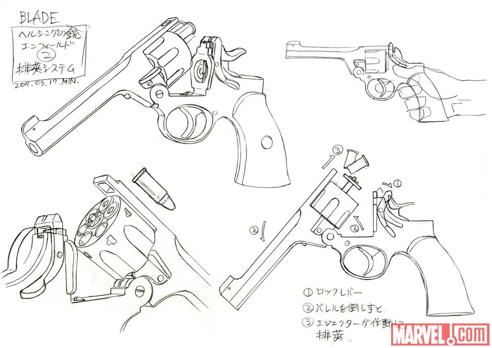 Pencil art of Van Helsing's gun from the Blade anime