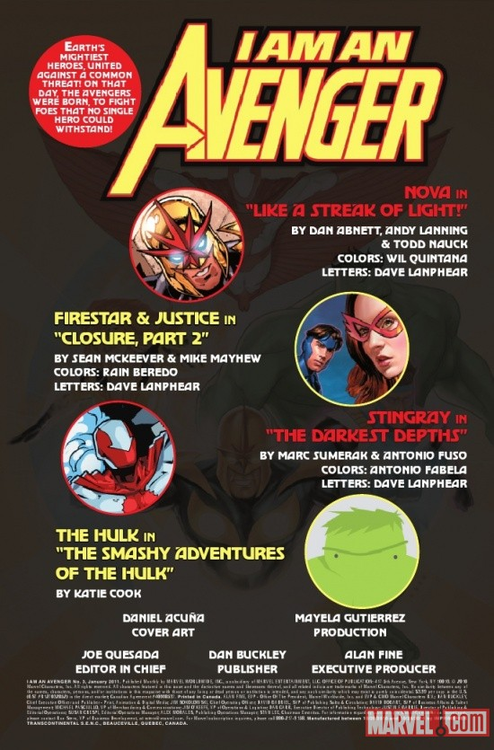 I AM AN AVENGER #3 title page