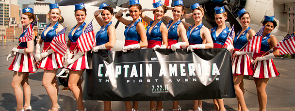 Cap's USO Girls Salute the USS Intrepid