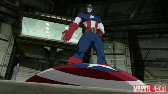 Captain America serves as an inspiration to the younger heroes in Ultimate Spider-Man