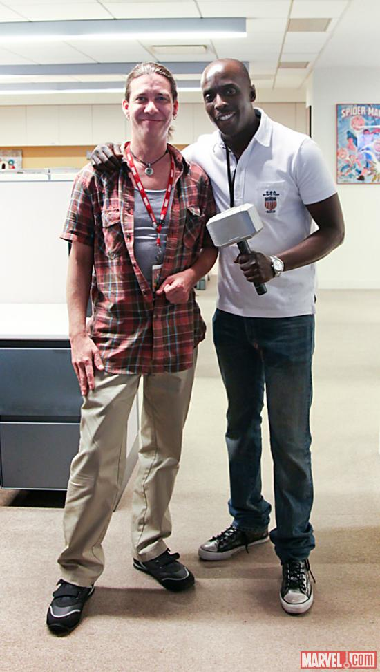 Actor Michael K. Williams with Marvel Senior Art Director Jeff Suter