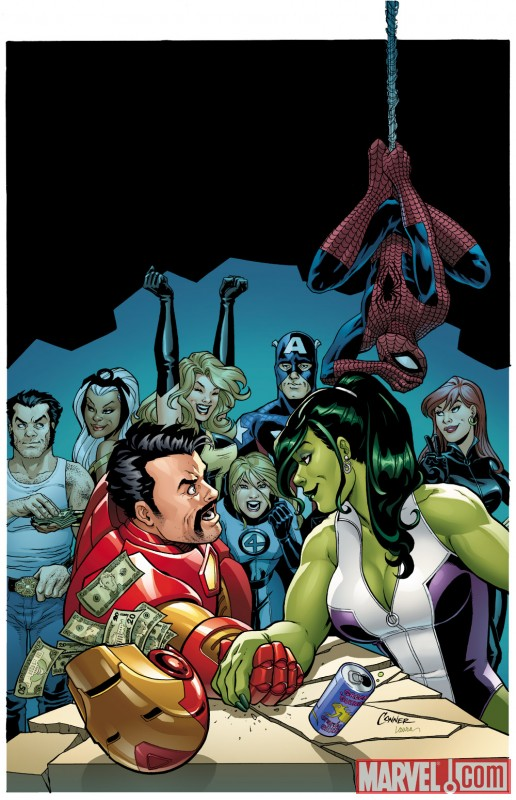 Image Featuring Black Widow, Invisible Woman, Iron Man, She-Hulk (Jennifer Walters), Spider-Man, Storm, Wolverine, Captain Marvel (Carol Danvers)