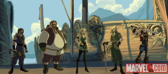 Exterior art of Asgard with the cast of Thor: Tales of Asgard