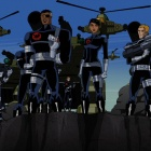 Screenshot of Nick Fury and his S.H.I.E.L.D. agents from The Avengers: Earth's Mightiest Heroes!