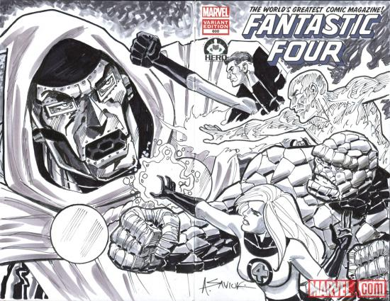 Fantastic Four #600 Hero Initiative variant cover by Alex Saviuk 