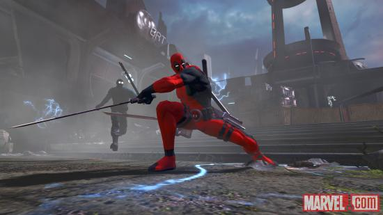 Deadpool prepares for battle in the Deadpool video game