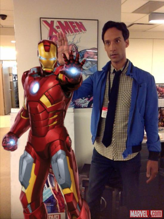 Community star Danny Pudi with Iron Man, taken with Walmart's Super Hero Augmented Reality App