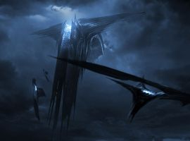 Marvel's Thor: The Dark World concept art featuring the Dark Elves' ship