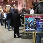 Fans assembling for El Capitan Theatre's midnight screening of Marvel's The Avengers