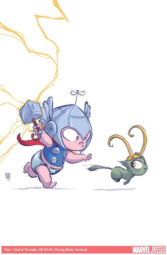 Thor: God of Thunder #1 Baby Variant cover by Skottie Young