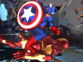Screenshot of Captain America vs. Iron Man in Marvel Avengers: Battle for Earth