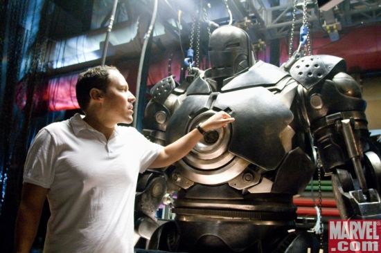 Director Jon Favreau and the Iron Monger