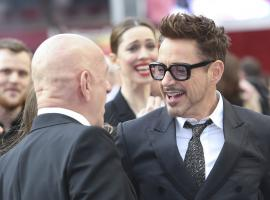 Ben Kingsley and Robert Downey, Jr. have a laugh in London during the Iron Man 3 World Tour
