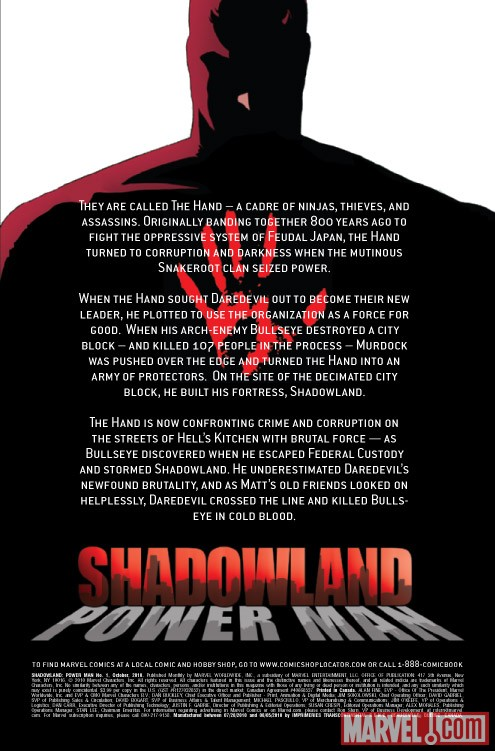 Shadowland: Power Man #1 recap page