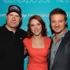 Kevin Feige, Scarlett Johansson and Jeremy Renner at D23 2011