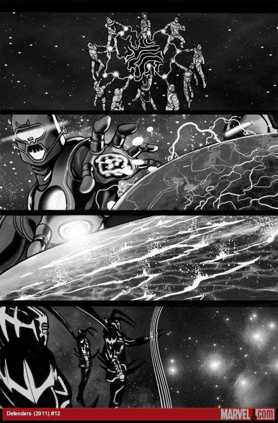 Defenders (2011) #12 black and white preview art by Mirco Pierfederici