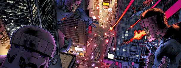 Stuart Immonen All-New X-Men #9 Sentinels in Times Square