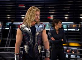 Chris Hemsworth and Cobie Smulders star as Thor and Maria Hill in Marvel's The Avengers