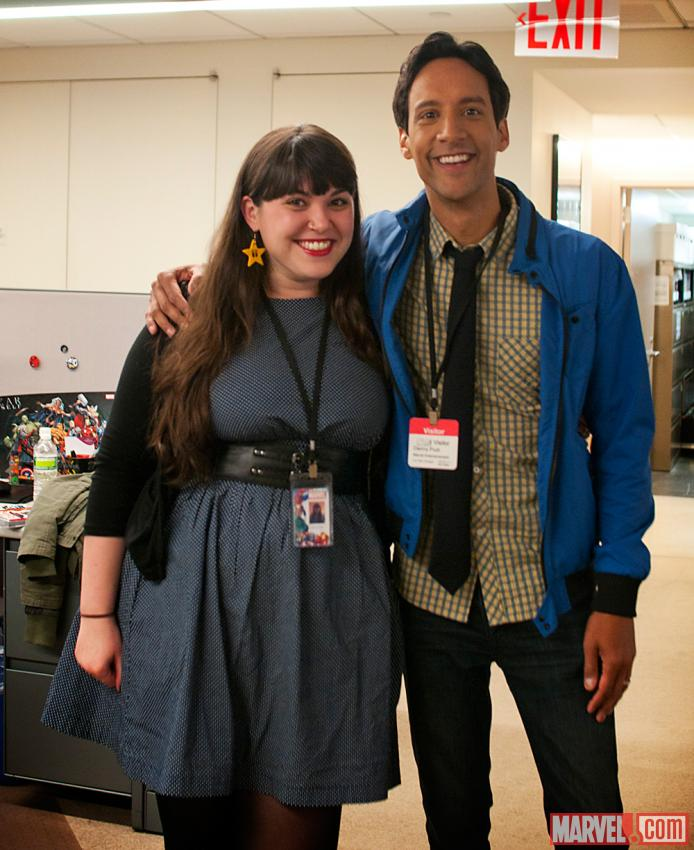 Social Media Coordinator Janna O'Shea with Danny Pudi