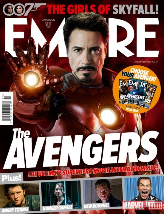 Empire Magazine March 2012 Avengers cover featuring Robert Downey Jr. as Iron Man