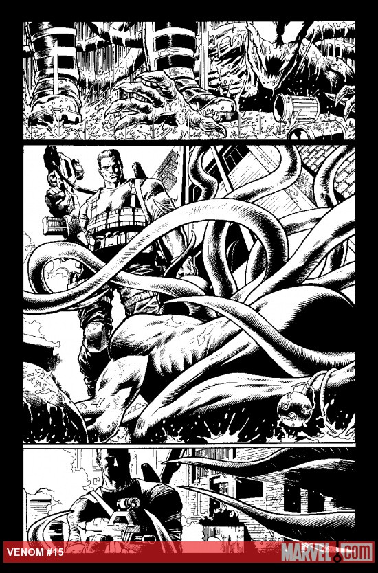 Venom (2011) #15 inked preview art by Lan Medina