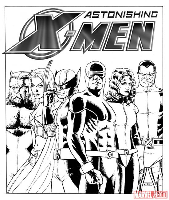 Lithograph pen and ink sketch of the Astonishing X-Men cover by John Cassaday