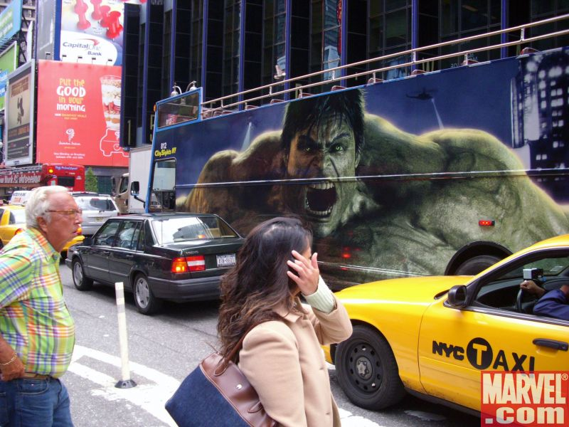 The Hulk Bus cruises down Broadway