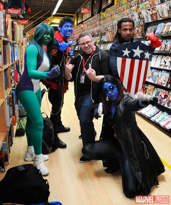 Marvel's Todd Wahnish and Cosplayers at Avengers Vs X-Men Release Party at Midtown Comics