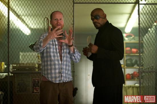 Director Joss Whedon and Samuel L. Jackson (Nick Fury) behind the scenes of &quot;Marvel's the Avengers&quot;