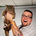 Lil Bub and Agent M at Marvel HQ