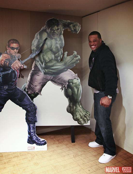 Yankees Second Baseman Robinson Cano and the Hulk and Hawkeye at Marvel HQ
