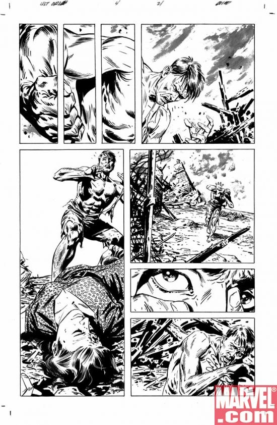 ULTIMATE ORIGINS #4 black and white preview art by Butch Guice