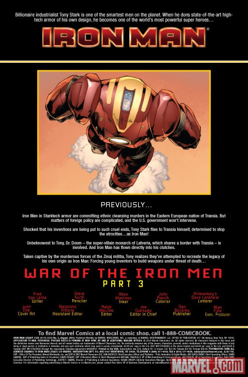 IRON MAN LEGACY #3 recap page
