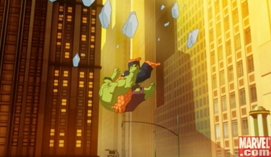 Hulk and Thing Falling