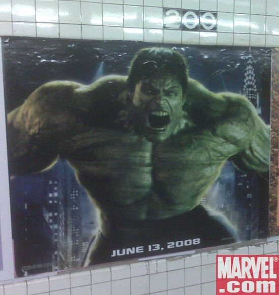 Incredible Hulk poster at the 200th Street/Dyckman subway station in NYC